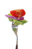 Salad Bite On Fork With Drippy Dressing. Lettuce, red onion, and tomato on a fork with honey mustard dressing Stock Images
