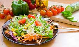 Salad on black dish. A fresh salad on a black dish and ingredients located next to it stock photos