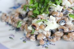 Salad of black eye beans Stock Images