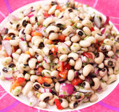 Salad of black eye beans Stock Photos