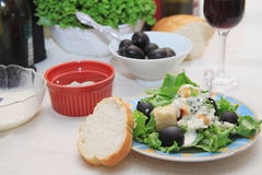 Salad black olives Stock Images