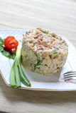Salad with boiled beef and cheese Stock Image