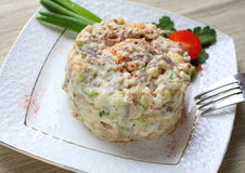 Salad with boiled beef and cheese Stock Photos