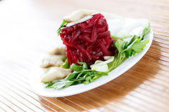 Salad with boiled beet and herring Stock Photo