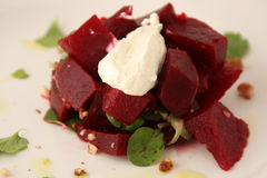 Salad with boiled beet and herring Stock Photos