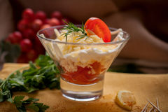 Salad with boiled chiken and tomatoes. And cheese Royalty Free Stock Image