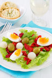 Salad with boiled egg, grilled pepper Stock Photography