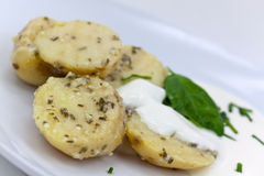 Salad with boiled Potato and Yogurt Stock Photo