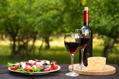 Salad and a bottle of wine and cheese Royalty Free Stock Images