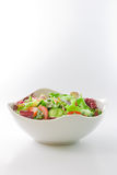 Salad Bowl. White bowl of mixed vegetables salad isolated on white background Royalty Free Stock Photography