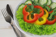 Salad in bowl. A close up of salad made of peppers, cucumber and lettuce in a ceramic bowl and cutlery beside Royalty Free Stock Image