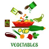 Salad bowl with fresh chopped vegetables vector illustration