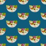 Salad Bowl Healthy Food Seamless on Indigo Blue Background. Vector Illustration. Royalty Free Stock Images