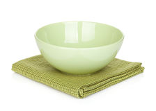 Salad bowl over kitchen towel Royalty Free Stock Photography