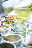 Salad bowls with mixed fresh vegetables Royalty Free Stock Photo