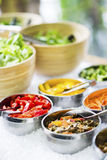 Salad bowls with mixed fresh vegetables Royalty Free Stock Images