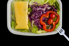 Salad Box Background / Salad Box / Salad Box on Black Background Royalty Free Stock Photo