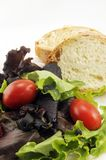 Salad and Bread. A healthy delicious salad for a dinner or snack Stock Photography