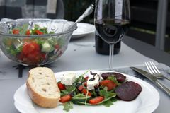 Salad ,bred and wine Stock Photo