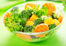Salad with broccoli, carrot, pumpkin and parsley Stock Images