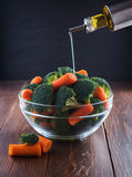 Salad of broccoli and carrots Stock Images