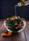 Salad of broccoli and carrots Royalty Free Stock Photography