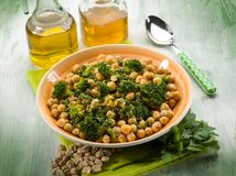 Salad with broccoli and chickpeas Stock Photos