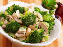 Salad with broccoli and mushrooms Stock Image