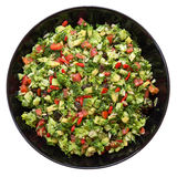 Salad with broccoli, red pepper, avocado, dill, raisins, sunflower seeds Royalty Free Stock Photos