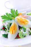 Salad with broccoli, tomato, egg and  sauce Royalty Free Stock Image
