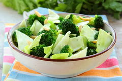 Salad of broccoli with walnuts Stock Image