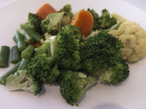 Salad with brocolli. Close up of salad with broccoli with white background royalty free stock image