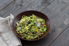 Salad from brussels sprouts with radish, raisins and sprouts of wheat Royalty Free Stock Photos