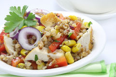 Salad with buckwheat and chicken Stock Photo