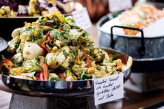 Salad buffet with a rich choice Stock Photos