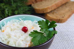 Salad from cabbage with a cowberry and bread Stock Photos