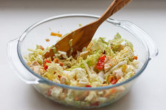 Salad of cabbage, crackers, tomato, chicken Royalty Free Stock Images