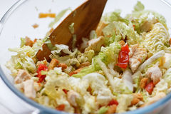 Salad of cabbage, crackers, tomato, chicken Stock Photography