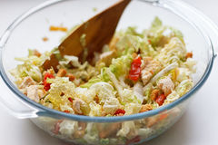 Salad of cabbage, crackers, tomato, chicken Royalty Free Stock Photo