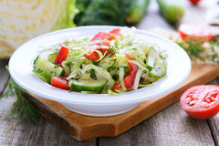 Salad from  cabbage, cucumbers and cherry tomatoes Stock Photography