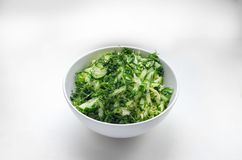 Salad from cabbage, cucumbers, dill Stock Photos