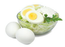 Salad of cabbage and eggs Stock Photos