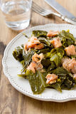 Salad cabbage with smoked salmon Stock Images