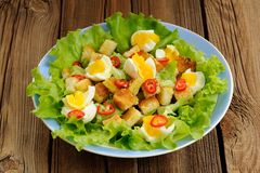 Salad Caesar with eggs, chili pepper closeup macro Royalty Free Stock Images
