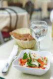 Salad from cafe in white ware Royalty Free Stock Photo