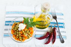Salad with canned peas and boiled carrots Royalty Free Stock Photography