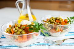 Salad with canned peas, carrots and vegetables Royalty Free Stock Images