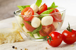 Salad Caprese and bread Stock Photography