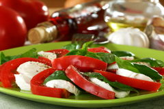 Salad caprese with fresh tomatoes. Stock Photography