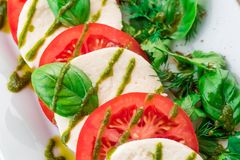Salad Caprese on a white plate close up. top view stock photo